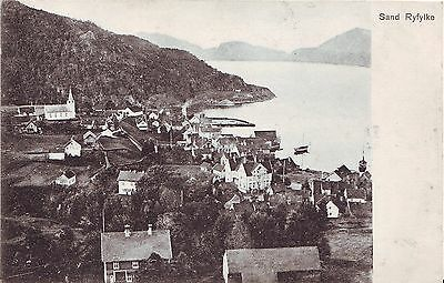 Norway Norge Sand i Ryfylke - City and Harbor old postcard