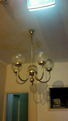 Vintage Gold Brass Five Arm Light Ceiling Chandelier with Glass Light Fitting