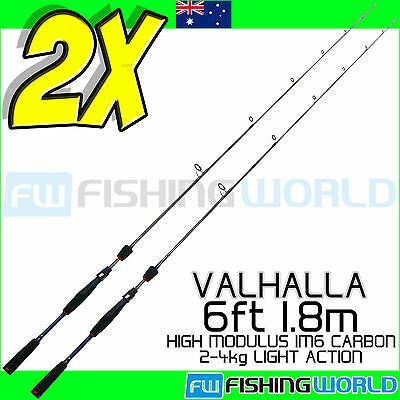 2 x MELALUKA FISHING VALHALLA 6ft 1.8m 2-4kg HIGH MODULUS IM6 CARBON FISHING ROD