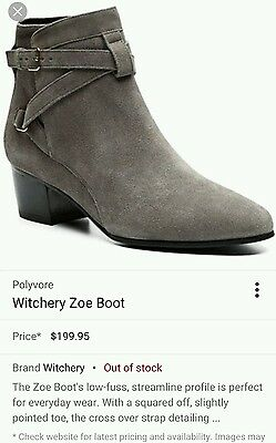 WITCHERY 'Zoe' grey boots. Leather suede. Size 38 or 7.5