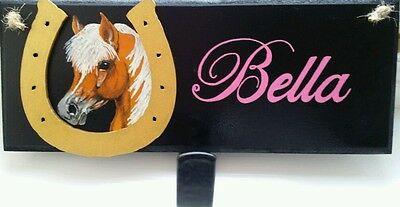 Personalised Pony plaque hand painted with hook,any name colours £12 free post.