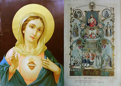 French Holy Communion Souvenir Document 1928 with portrait of Virgin Mary