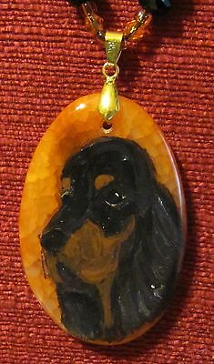 Gordon Setter hand painted on oval Agate pendant/bead/necklace
