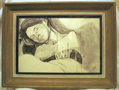 Life study portrait of a girl sleeping including mount and vintage french frame