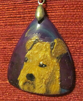 Airedale Terrier hand painted on triangular Onyx Agate pendant/bead/necklace