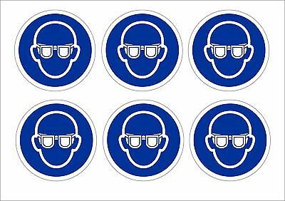 Pack Of 6 Eye Protection Must Be Worn Stickers 2 Sizes - Mandatory PPI Signs
