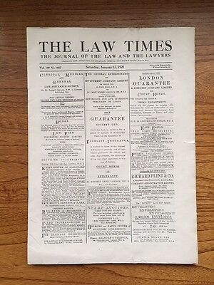 1920 Vintage Newspaper THE LAW TIMES  January 17 1920. Original Edition.