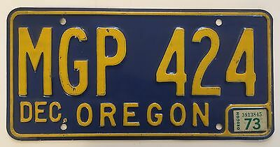 1973 Oregon License Plate VG Glossy Nice!! NATURAL Sticker Rare!! 1965 Blue Base