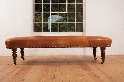 Antique vintage leather sofa stool ottoman table day bed chaise