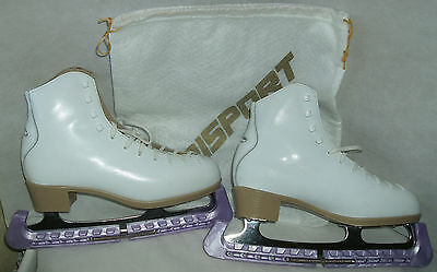 Risport Antea white leather Ice Skate Boots Size 6 Blade is size 10 1/3 + Guards