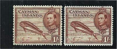 Cayman Islands 1938/43 1/- Red-Brown Mounted Mint (2) P.13X11.1/2 & P.14 SG123/a
