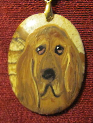 Bloodhound hand painted on oval Picture Jasper pendant/bead/necklace