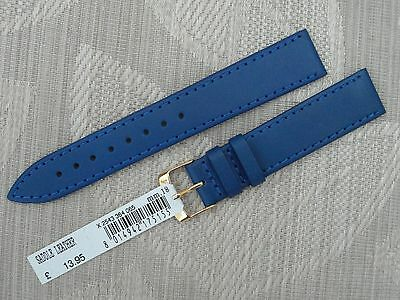 GENUINE SADDLE LEATHER WATCH STRAP BAND FROM MORELLATO OF ITALY 18mm BLUE