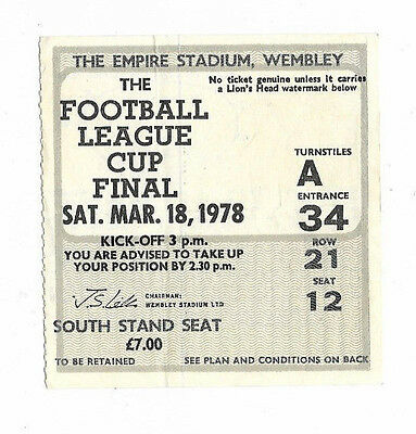Ticket 1978 League Cup Final - NOTTINGHAM FOREST v. LIVERPOOL