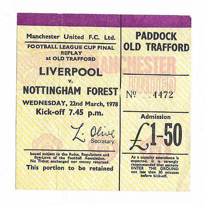Ticket 1978 League Cup Final Replay - NOTTINGHAM FOREST v. LIVERPOOL