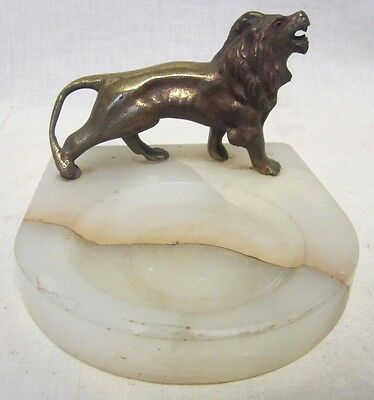 Old Marble Brass/Bronze Lion French Tray Ashtray ornate detail card tip trinket