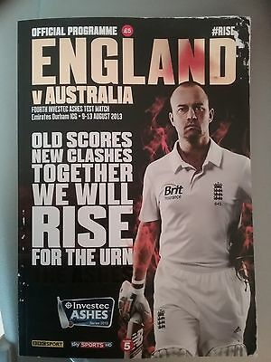 Official Ashes Programme Eng v Aus 4th Test Durham 2013