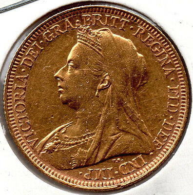 1894S Full Gold Sovereign. Queen Victoria. Minted in Sydney Australia