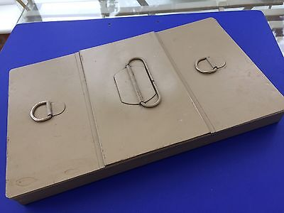 Vintage Metal Safety Deposit Box Centre Slide Outer Compartments Hinged