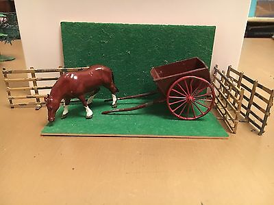 Vintage English Lead Horse & Cart & Fencing - Lovely Set