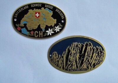 Two Swiss/switzerland/suisse Classic/vintage Car Badge Plates/plaques