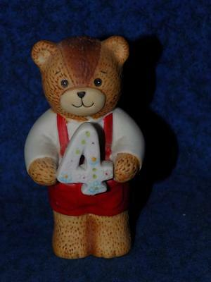 Enesco -Lucy and Me - BEAR HOLDING #4- Birthday-Number Four