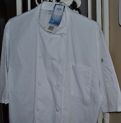 CHEF WORKS Montreal Cool Vent Chef Coat WHITE NWT SZ SMALL