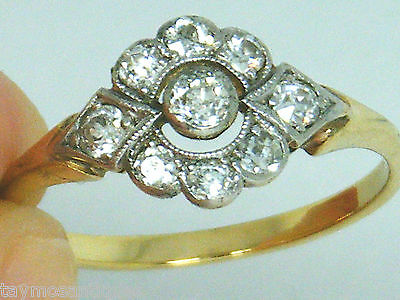 Antique 18k gold 18ct  gold  old cut 0.25ct Diamond ring size P Boxed