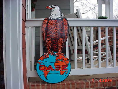 Very Large CASE TRACTOR SIGN HEAVY STEEL THICK SIGN EAGLE ON GLOBE 44 inches