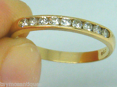 18k 18ct solid gold 0.25CT Diamond 1/2 eternity ring size O Boxed