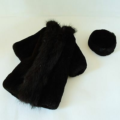 """Real Mink Fur Coat & Hat for 12"""" Fashion Royalty/Barbie and similar size dolls"""