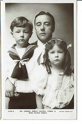 George Robey with Teddy & Eileen Theatre Actor Vintage Rotary Postcard