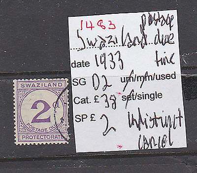 Ref. 1483  Swaziland 1933 Twopence Postage Due
