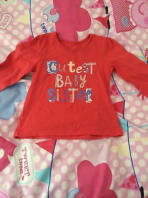 Cutest Baby Sister Girls Top Tshirt 12-18 Months 1-1/2 Years