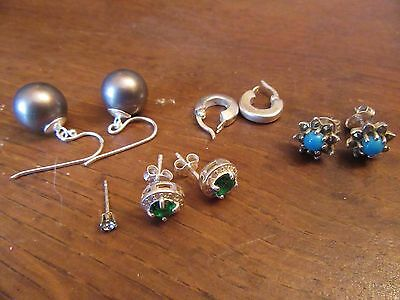 Joblot Set of 4 Pairs of 925 Sterling Silver Earrings + a spare stud.