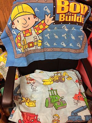BOB THE BUILDER Trucks Blue Twin Sheet FITTED & Pillow Case Bedding Fabric