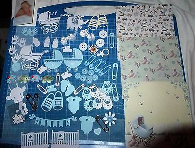 Craft Clearout, New Baby Boy Card-Making Embellishments, Die-Cut/handmade.
