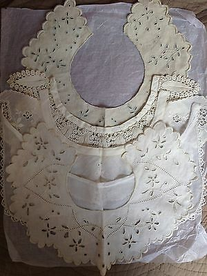 Set Collection of 5 Antique Vintage French Cotton Ladies Collars