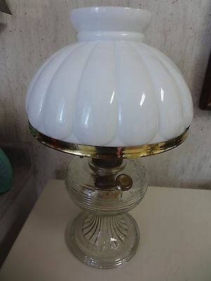 Clear Crystal Aladdin Beehive Kerosene Lamp,model B Burner,milk Glass Shade