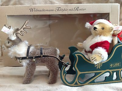Steiff Limited Edition Father Christmas Teddy Bear With Reindeer And Sleigh