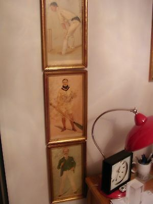"""3 antique gold framed ORIGINAL Vanity Fair cricket and rowing prints by """"Spy"""""""