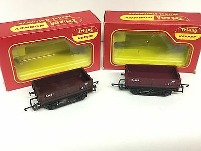 2x Triang/Hornby R113 Drop Side Goods Wagons