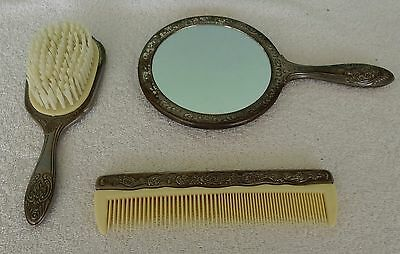 Vintage 3 Piece Silver Plated Vanity Dresser Set - Comb Brush Mirror
