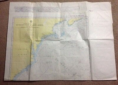 Vintage Defense Mapping Agency Southeast Coast of North America Depth Chart Map