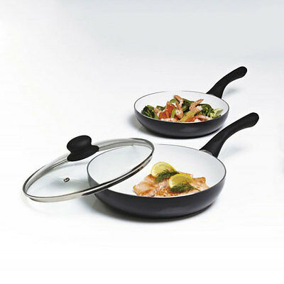 3Pc Cermalon 100% Non-Stick Ceramic Frying Pan Set -20Cm And 24Cm With Glass Lid