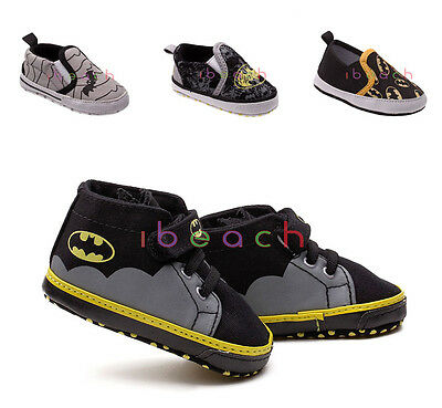 New Arrial Baby Boy Batman Crib Shoes Toddler Slip-on Newborn to 18 Months