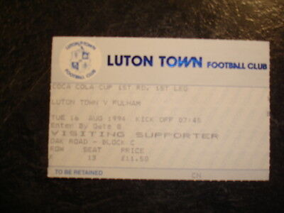 Ticket League Cup Luton Town V Fulham 94-95