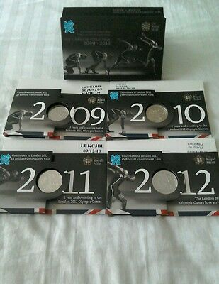2009 2012 Brilliant Uncirculated Complete £5 Countdown  Coin London Olympic Set