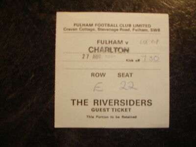 Ticket League Cup Fulham V Charlton Ath 91-92