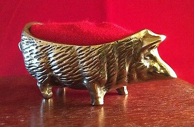 Pin Cushion Collectors! Antique/Vintage Brass Pig.....look at pics!